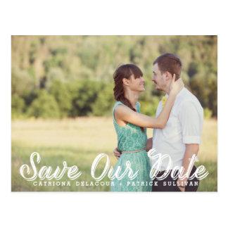 Weißes rustikales Skript-Foto retten unsere Postkarte