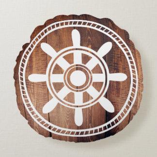 Weißes Schiffs-Rad-hölzerne nautischplanken Rundes Kissen