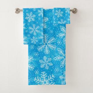 Weißes Schneeflockemuster Badhandtuch Set