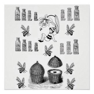 weißes schwarzes Plakat der Honigbiene Poster