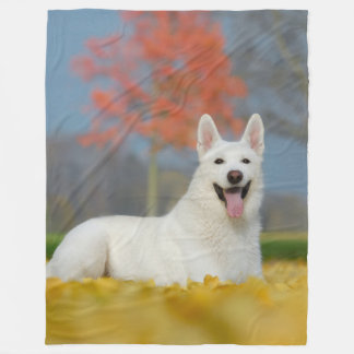 Weißes Schweizer Schäfer-HundeFoto _niedlicher Fleecedecke