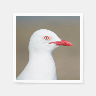 Weißes Seemöweseitenporträt Papierserviette