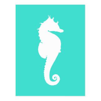 Weißes Seepferd auf Türkis Postkarte