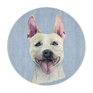 Weißes Staffordshire-Bullterrier-HundeAquarell Schneidebrett