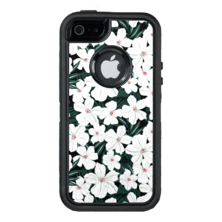 Weißes tropisches Blumen-Muster OtterBox iPhone 5/5s/SE Hülle