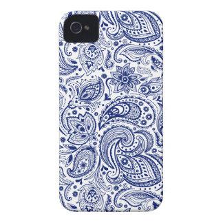 Weißes u. blaues Vintages Blumenpaisley-Muster iPhone 4 Case-Mate Hüllen