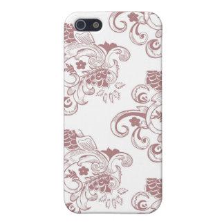 Weißes u. rotes Vintages Blumenmuster iPhone 5 Etui