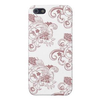 Weißes u. rotes Vintages Blumenmuster iPhone 5 Schutzhülle