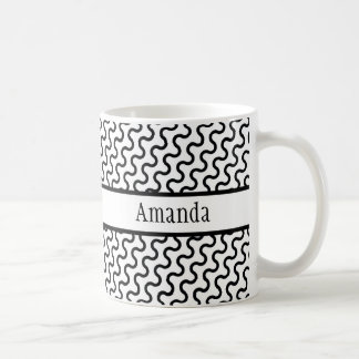 Weißes u. schwarzes Retro, diagonales Kaffeetasse