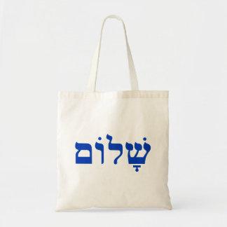 Weißes und blaues Shalom Tragetaschen