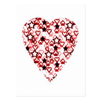 Weißes und dunkelrotes Herz. Gemusterter Postkarte