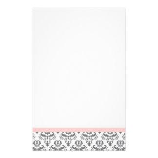 Weißes und graues Damast-Muster-Briefpapier Briefpapier