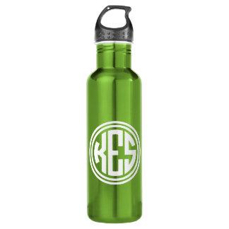 Weißes und grünes adrettes Kreis-Monogramm Trinkflasche