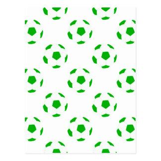 Weißes und grünes Fußball-Muster Postkarte
