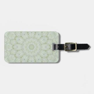 Weißes und hellgrünes Rosemandala-Kaleidoskop Gepäckanhänger