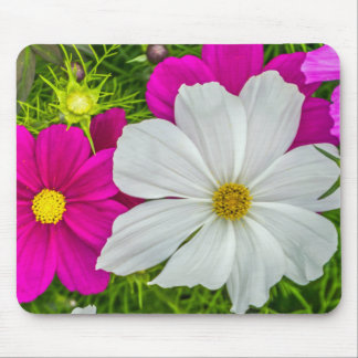 Weißes und rosa Blumen mousepad