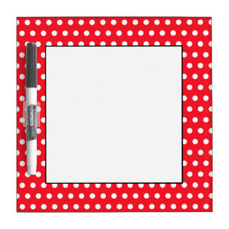 Weißes und rotes Tupfen-Muster. Spotty. Memo Boards