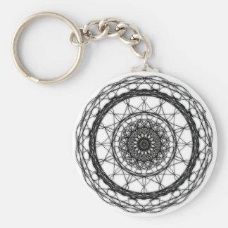 Weißes und schwarzes abstraktes Keychain Schlüsselanhänger