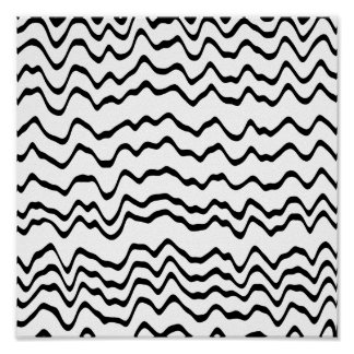 Weißes und schwarzes Wellen-Muster Poster