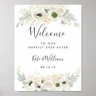 Weißes Vintages BlumenWellcome Plakat