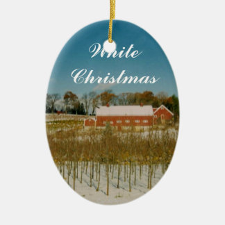 Weißes Weihnachten in Neu-England Ovales Keramik Ornament
