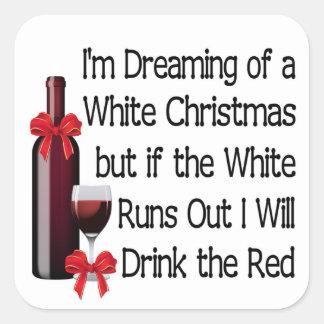 Weißes Weihnachten Quadratischer Aufkleber