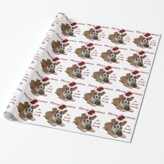 Weißes Weihnachtsboxerwelpen-Packpapier Geschenkpapier