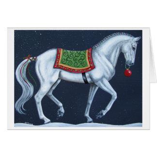 Weißes WeihnachtsDressage Warmblood Karte