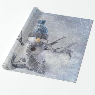 Weißes WeihnachtsSchneemann Geschenkpapier