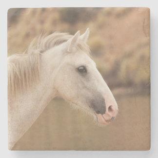 Weißes wildes Pferd Steinuntersetzer