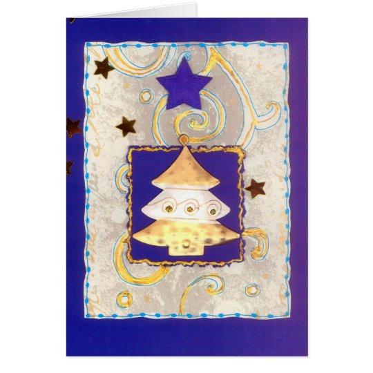 WEISSGOLDENER WEIHNACHTSBAUM auf Blau mit Sternen Karte