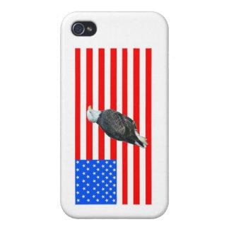 Weißkopfseeadler auf amerikanischer Flagge iPhone 4 Cover