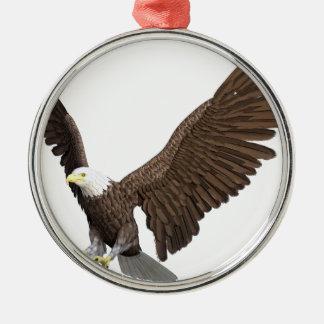 Weißkopfseeadler, der für eine Landung hereinkommt Rundes Silberfarbenes Ornament
