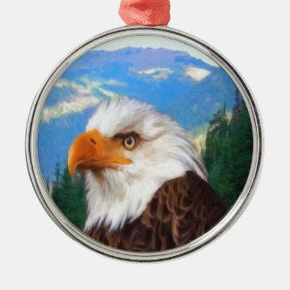 Weißkopfseeadler-erstklassige runde Verzierung Rundes Silberfarbenes Ornament