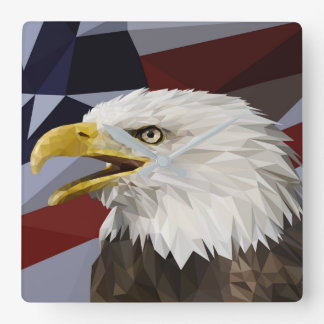 Weißkopfseeadler-Flagge-Kissen Quadratische Wanduhr