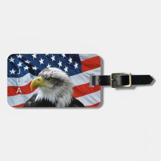 Weißkopfseeadler-Flagge-Monogramm-Gepäckanhänger Gepäckanhänger