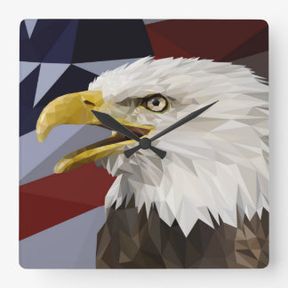 Weißkopfseeadler-Flagge-Wanduhr Quadratische Wanduhr