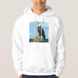 Weißkopfseeadler gehockt auf Klotz, Kanada Hoodie