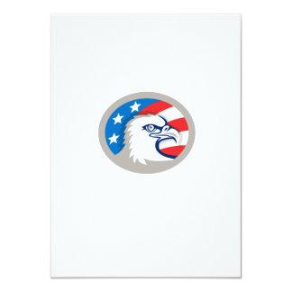 Weißkopfseeadler Haupt-USA-Flaggen-ovales Retro 11,4 X 15,9 Cm Einladungskarte
