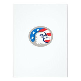 Weißkopfseeadler Haupt-USA-Flaggen-ovales Retro 14 X 19,5 Cm Einladungskarte