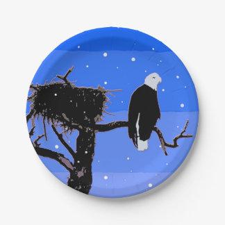 Weißkopfseeadler im Winter Pappteller