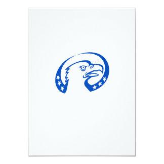 Weißkopfseeadler-Kopf-Sterne schauen oben Retro 11,4 X 15,9 Cm Einladungskarte