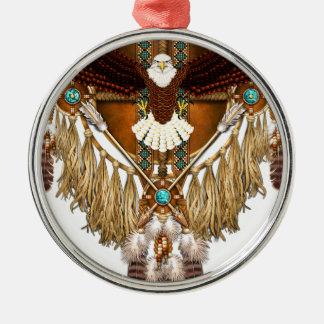 Weißkopfseeadler-Mandala - verbessert Rundes Silberfarbenes Ornament