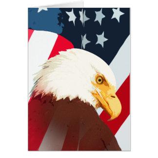 Weißkopfseeadler mit amerikanischer Flagge Grußkarte