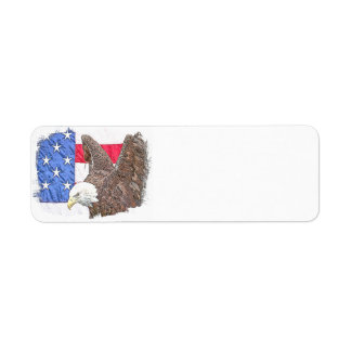 Weißkopfseeadler mit der amerikanischen Flagge