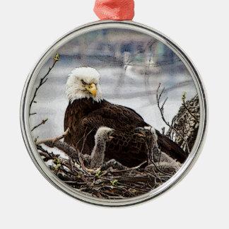 Weißkopfseeadler mit eaglets rundes silberfarbenes ornament