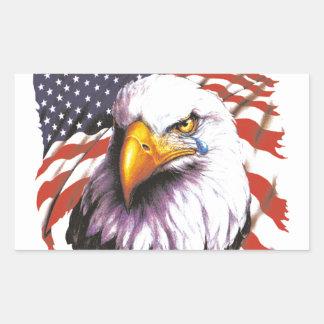 Weißkopfseeadler mit einem Riss - USA-Flagge im Rechteckiger Aufkleber