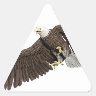 Weißkopfseeadler mit Flügeln auf unten streichen Dreieckiger Aufkleber