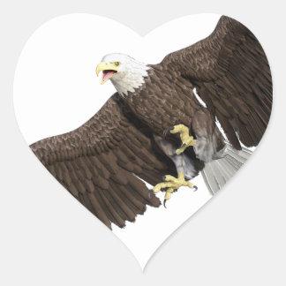 Weißkopfseeadler mit Flügeln auf unten streichen Herz-Aufkleber