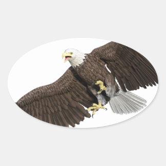 Weißkopfseeadler mit Flügeln auf unten streichen Ovaler Aufkleber